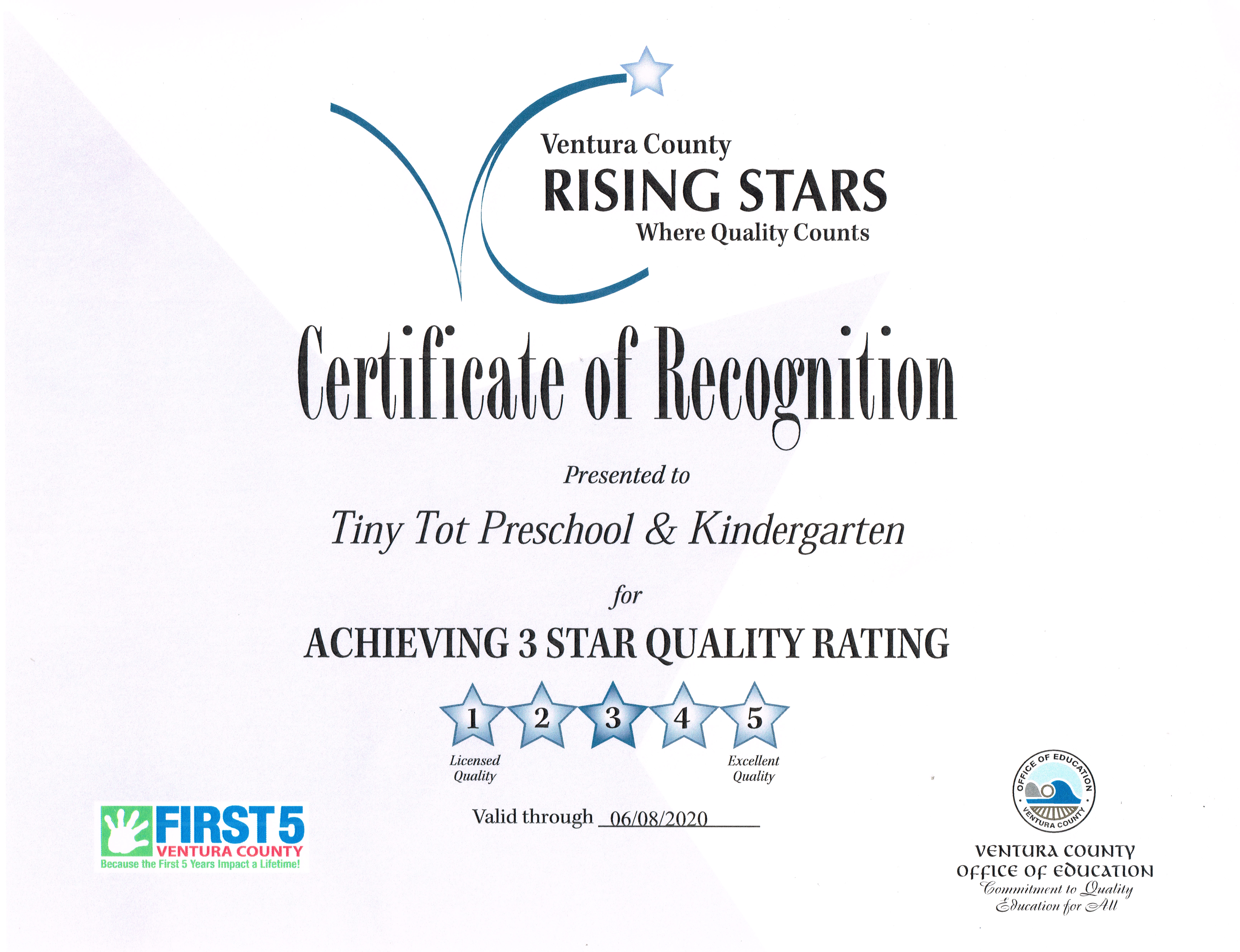 Tiny Tot Preschool & Kindergarten is Part of the Rising Stars – Tiny